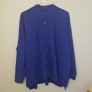 Eileen Fisher royal blue linen button-down shirt